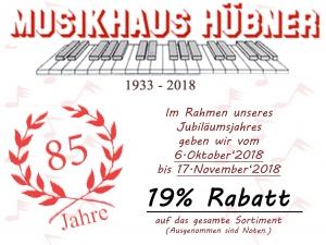 Musikhaus Hübner 19% Rabatt Aktion Oktober - 17. November 2018